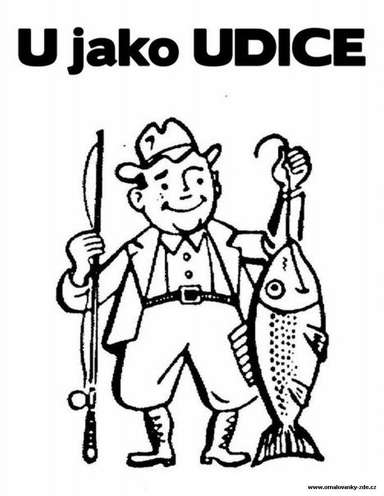 дедушка ловит рыбу раскраска